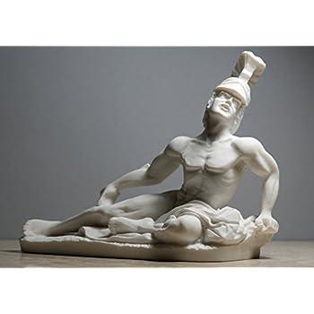 Alabaster Statue Dying Achilles Trojan War Hero Sculpture Handmade Nude Male