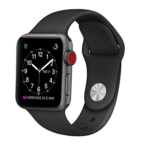 BANDEX-Sport-Band-for-Apple-Watch-42mm-Soft-Silicone-Strap-Replacement-Wristbands-for-Apple-Watch-Sport-Series-3-Series-2-Series-142MM38MM-Black