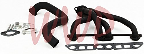 Black Coated Performance Exhaust Header System Kit 97-99 For Jeep Wrangler TJ 2.5L 4-Cylinder