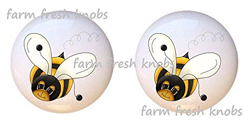 Bee Switchplate (SET OF 2 KNOBS - Bee Design #002 from the Bee-Boppin' Country Bumble Bees Collection - DECORATIVE Glossy CERAMIC Cupboard Cabinet PULLS Dresser Drawer KNOBS)