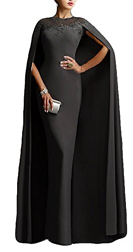 Ai maria Women's Mother of The Bride Long Formal Party Prom Dress with Cape Illusion Neck Lace (12, (Illusion Formal Dress)