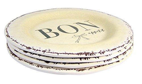 Santa Barbara Design Studio Bon Appetit Melamine Dessert Plate, Set of 4, 6 1/4 Inch