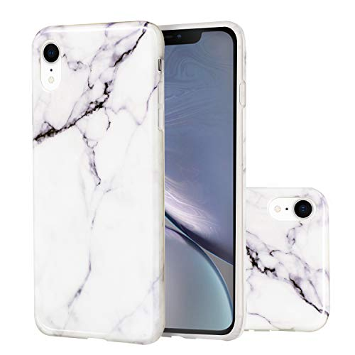 iPhone XR Case, Cubevit iPhone XR White Marble Pattern Design Case Cover, Slim Soft TPU Bumper Silicone Scratch-Resistant Shockproof Protective Case for Apple iPhone XR 6.1 2018