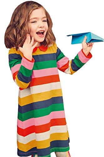 Toddler Girl Cute Cotton Long Sleeve Tunic Dresses Multi Stripe Size 4t - Multi Stripe Long Sleeve Dress