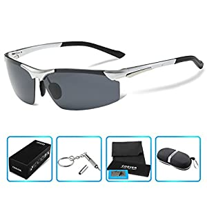 COSVER Men's Sports Style Polarized Sunglasses for Driving Cycling Running Fishing Golf Unbreakable - Metal Frame Al-Mg Glasses (2578-Silver, clear)
