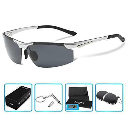 COSVER Men's Sports Style Polarized Sunglasses for Driving Cycling Running Fishing Golf Unbreakable - Metal Frame Al-Mg Glasses (2578-Silver, - Unbreakable Sunglasses Polarized