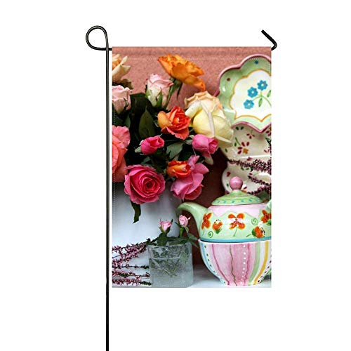 ZLU Garden Flag Roses Flowers Bouquet Vase Tableware 12x18 inches(Without Flagpole)