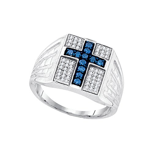Sterling Silver Mens Round Blue Colored Diamond Cross Religious Ring 1/2 Cttw by JAWAFASHION