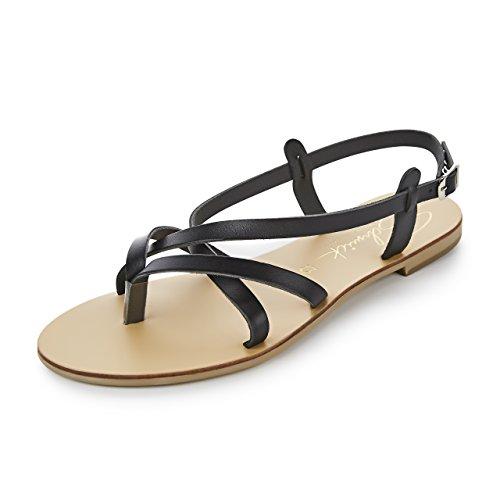 Noir Chaussures Schmick D'été Spartiates Naturel Plates Sandales hQrsdBtCx