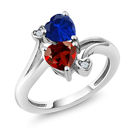 Gem Stone King 1.73 Ct Heart Shape Blue Simulated Sapphire Red Garnet 925 Sterling Silver Ring (Size 7) ()