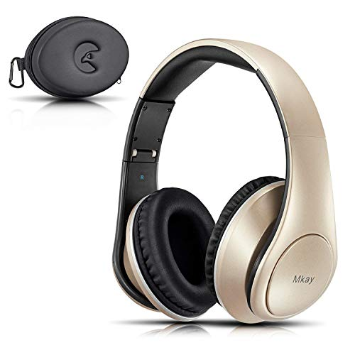 Over Ear Bluetooth Headphones, Mkay Wireless Headset V4.2 with Deep Bass Microphone Hi-Fi Stereo, Foldable & Lightweight,25H Playtime for Travel Work TV Computer iPhone-Gold