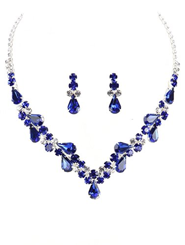 "Crystal Avenue Elegant Clear & Deep Blue Rhinestone Teardrop Bib Statement Necklace, 14"", with Post-Back Drop Earrings"