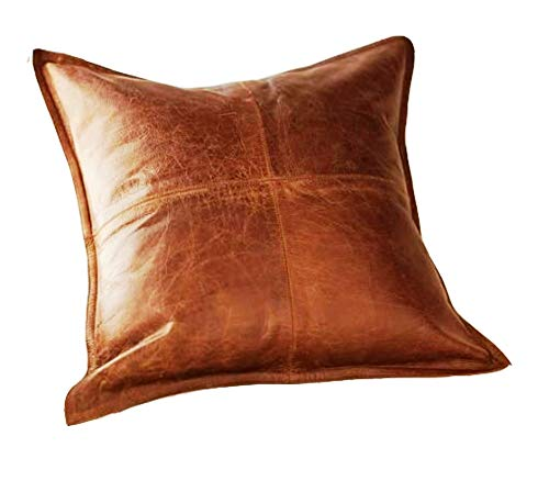 Leather Planet 100% Lambskin Leather Throw Pillow Cushion Cover - Sofa Cushion Case - Decorative Throw Cover for Indoor and Outdoor - Box Brown - 20 x 20 Inches - Pack of 1