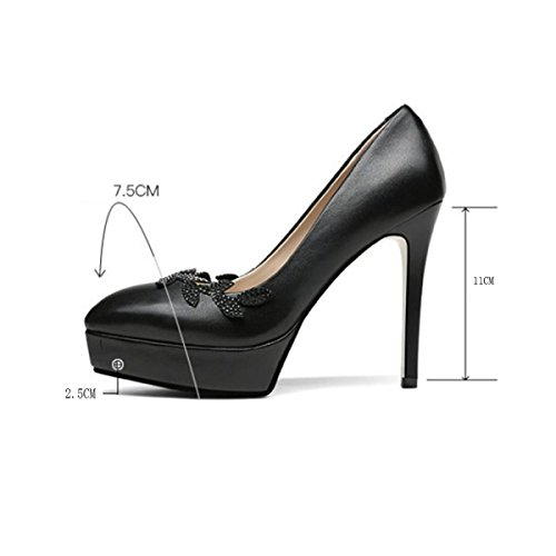 Hauts Couleurs Talons Escarpins Plate Femmes Fermées forme Soirée Diamant Pompes Noir Chaussures Mariage 3 De De Noir Chaussures tEEwaS