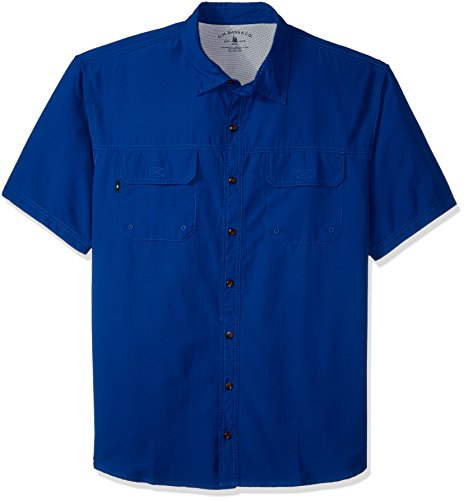G.H. Bass & Co. Men's Size Big and Tall Explorer Short Sleeve Button Down Fishing Shirt Solid Flap Pocket, Legacy Rich True Blue S2018 1, X-Large