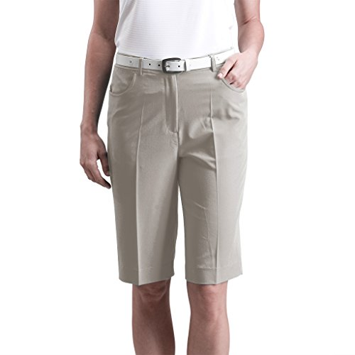14 Tri Stone - Monterey Club Ladies Stretchable Bermuda Shorts #2835 (Stone, Size:14)