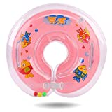 Baby Infant Swimming Pool Bath Neck Floating Inflatable Ring Built Safely Thicken Infant Ring (Pink)