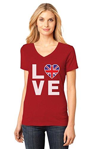 I Love The United Kingdom - British Flag Heart Cool V-Neck Women T-Shirt Medium Red (United Kingdom Shirt compare prices)