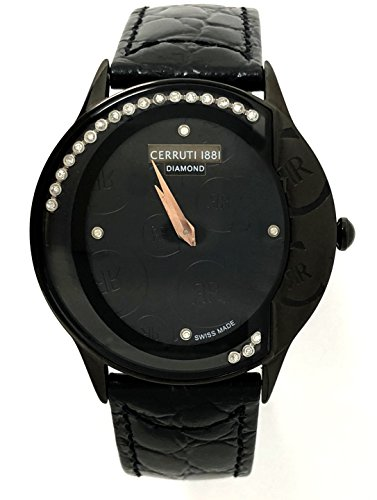 Cerruti 1881 Diamond Watch Black Logos Moving Stones Leather Ladies Swiss Made