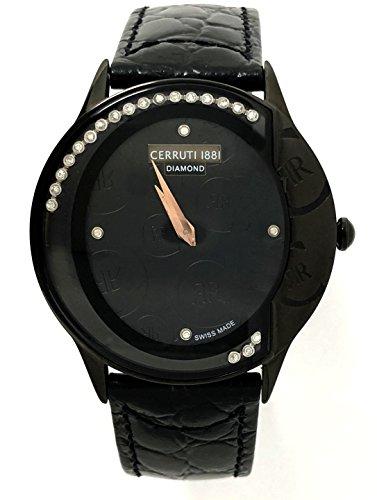 Cerruti 1881 Diamond Watch Black Logos Moving Stones Leather Ladies Swiss Made