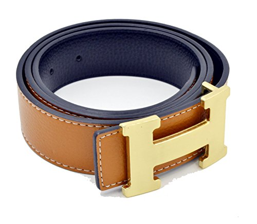 HG-products H-Style unisex Business Casual Belt [3.8CM] (Brown/Gold Buckle, 125CM [Waist 37''~39'']) by HG