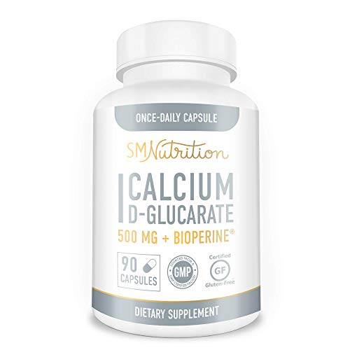 Calcium D-Glucarate 500mg 90 Vegetarian Capsules (3-Month Supply) CDG for Liver Detox & Cleanse, Weight Loss, Metabolism…