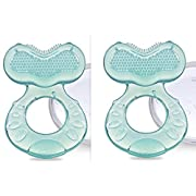 Nuby Silicone Teethe-eez Teether with Bristles, Includes Hygienic Case, Aqua, Pack of 2