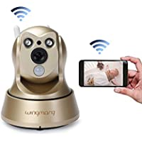 Wireless Security Camera Wifi IP HD 960P Camera Indoor Security Surveillance with Pan /Tilt Two Way Audio and Night Vision for Baby /Pet Monitor(Gold)