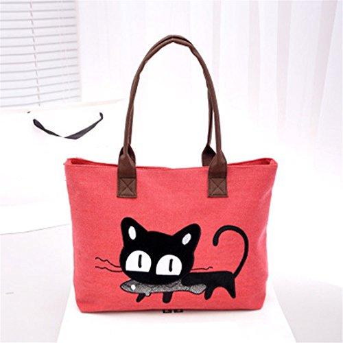 bureau pour mignon le Red Sac toile sac à bandoulière chat Sac avec en Taille kaki à unique déjeuner femme pour AFq47p