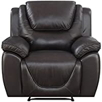 Mstar Saddie Top Grain Leather Match Rocker Recliner with Memory Foam Seat Topper