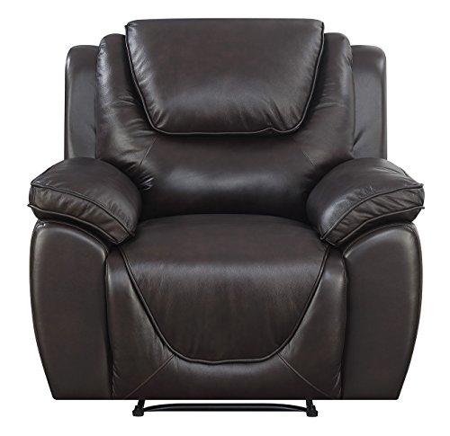 Mstar Saddie Top Grain Leather Match Rocker Recliner with Memory Foam Seat Topper