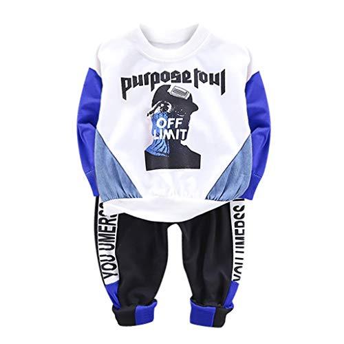 Toddler Infant Baby Boys Deer Long Sleeve Hoodie Tops Sweatsuit Pants Outfit Set White