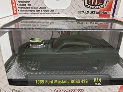 M2 Machines Ground-Pounders 1969 Ford Mustang BOSS 429 1:64 Scale R14 15-06 Matte Black with Ford on Car Doors Details Like NO Other! Over 42 Parts