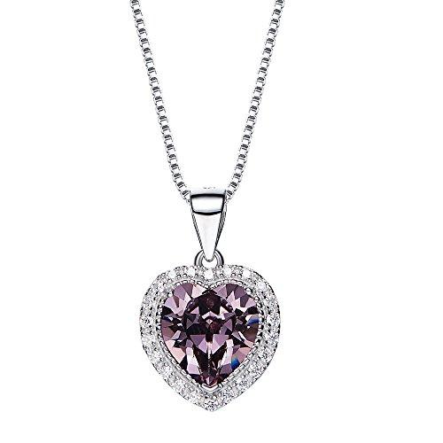 Fuegoelves 925 Sterling Silver Austrian Crystal Love Heart 12 Birthstone Pendant Necklace (Pure White Swarovski Pearls)