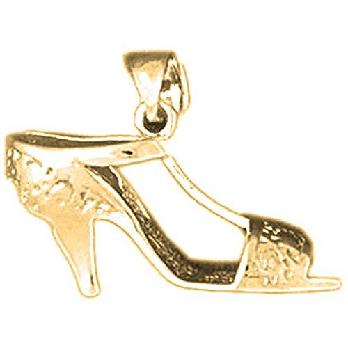 14K Yellow Gold 3D High Heel Shoe Pendant - 16 ()