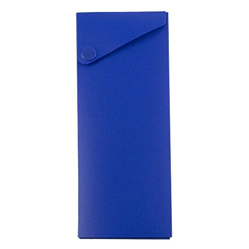 es - Sliding Pencil Case with Button Snap - Blue - Sold Individually (Slider Pencil Case)