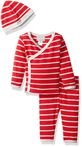 rey Red Stripe Jersey Knit Cotton Take Me Home, Cranberry/Grey, Newborn ()
