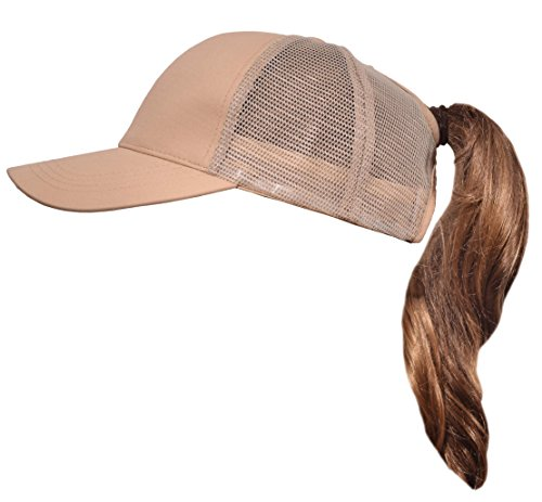 Beurlike Ponytail Baseball Cap High Bun Ponycap Adjustable Mesh Trucker Hats (Khaki)