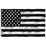 Anley Fly Breeze 3x5 Foot Black and White American Flag - Vivid Color and UV Fade Resistant - Canvas Header and Double Stitched - Recession USA Flags Polyester with Brass Grommets 3 X 5 Ft