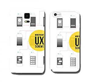 Wireframe ux kit for mobile application prototype with flowchart cell phone cover case Samsung S3