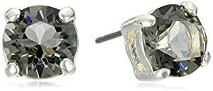Anne Klein Silver-Tone Black Diamond Stud Earrings