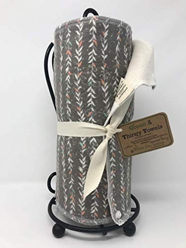 Green & Thirsty Unpaper Towels: TAUPE VINES Organic Cotton & Bamboo