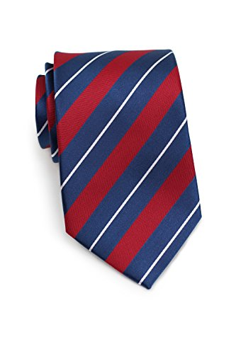 Bows-N-Ties Men's Necktie Luxe Stripes Silk Satin Tie 3.25 Inches (Red, Sapphire Blue)