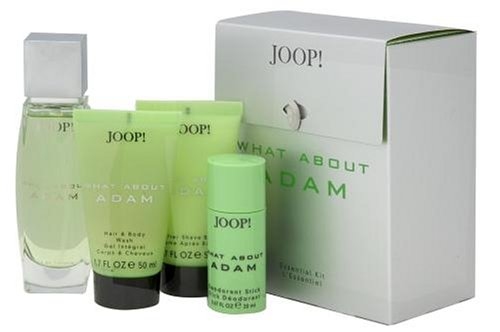 What About Adam By Joop! For Men. Set-edt Spray 2.5 Ounces & Deodorant Stick .67 Ounces & Shower Gel 1.7 Ounces & Aftershave Balm 1.7 Ounces