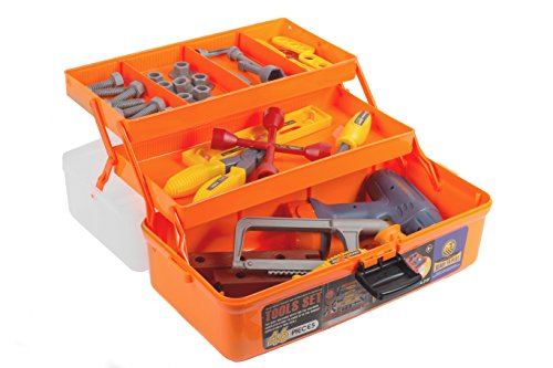 46 Piece Kids Toy Tool Set With Tool Box And Toy Power Tools - Kids Pretend Play Construction Tool Box, Workshop Accessories Toy Set