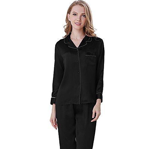 NANJUN Women's Satin Pajamas Sleepwear Long Button-Down Pj Set(Black,XL) ()