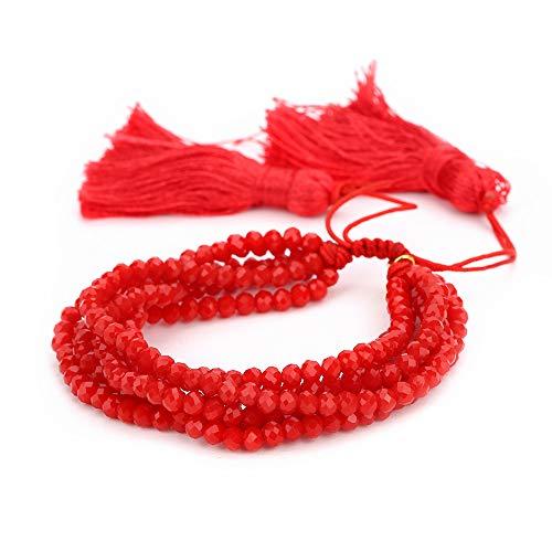 H&Z Beaded Crystal Bracelets 4mm Facted Crystal Tassel Friendship Bangle Strand Bracelets for Women