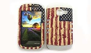 SAMSUNG GALAXY DISCOVER CENTURA CASE USA FLAG WH-TE529 HEAVY DUTY HIGH IMPACT HYBRID COVER WHITE SILICONE SKIN R740
