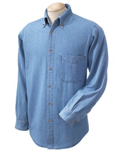 Harriton Men's 6.5 oz. Long-Sleeve Denim Shirt - LIGHT DENIM - XL ()