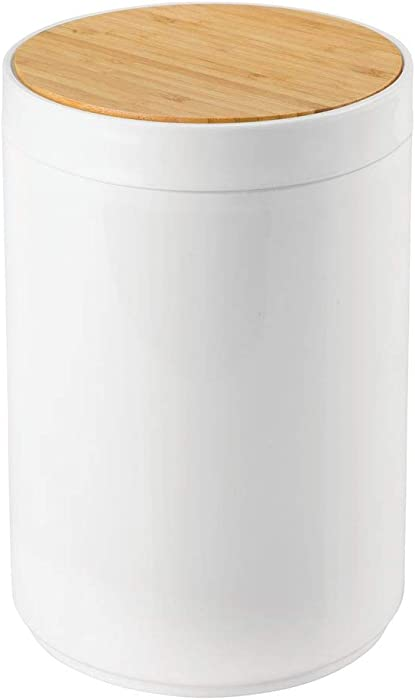 mDesign Small Round Plastic Trash Can Wastebasket, Garbage Container Bin with Bamboo Swing Top Lid - for Bathrooms, Kitchens, Home Offices - 1.3 Gallon/5 Liter - White/Natural Wood Finish